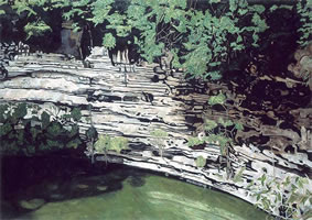 Cenote de Chichen-Itza, 2003, oil on canvas 44.9 x 63.9 in