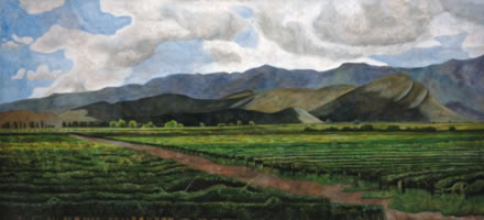 Viñedos de San Lorenzo, 2005, oil on canvas, 44.9 x 92.9 in