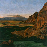 Atardecer en Chalcatzingo, 2007, oil on canvas, 44.3 x 44.3 in