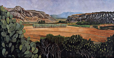 El valle de los habitantes de Yagul, 2009, oil on canvas, 38.6 X 74.8 in
