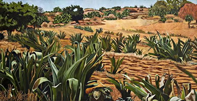 Magueyes en secas, 2012, oil on canvas 59 x 114 in